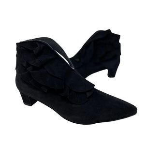 All Black Brand Ruffle Suede Ankle Booties Size 41